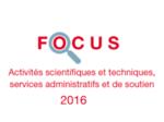 Couverture Focus Activités scientifiques et techniques 2016