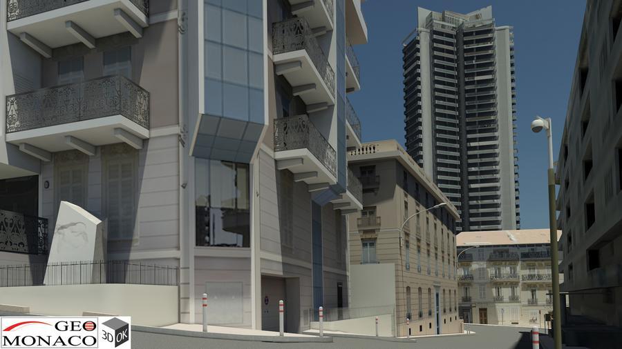 Maquette 3D Imagina - Rue de Monaco - Vue virtuelle d'une rue de la Principauté