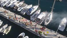 Exercice pompiers - Exercice incendie sur bateau dans le secteur du quai Jules Soccal, dans le Port de Monaco.